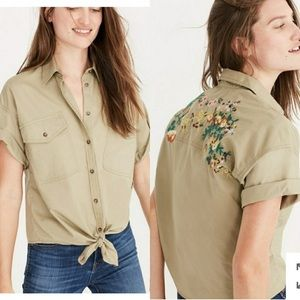 Madewell - embroidered safari tie-front shirt